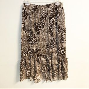 Midi cheetah print skirt